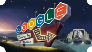 A short animated film depicting a scene at an imaginary drive-in movie theater greeted visitors to Google's homepage on June 6, the 79th anniversary of the first drive-in movie.