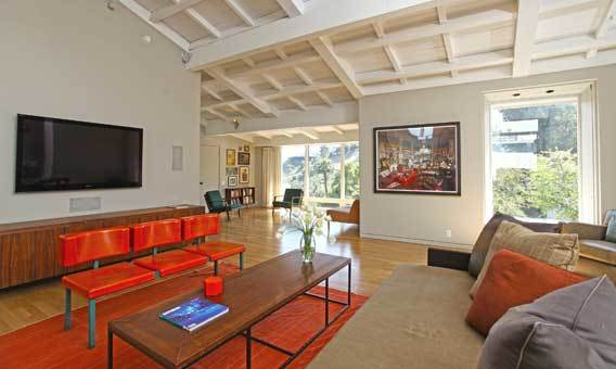 High ceilings and natural light give an airy ambience to Michael C. Hall's Hollywood Hills house.