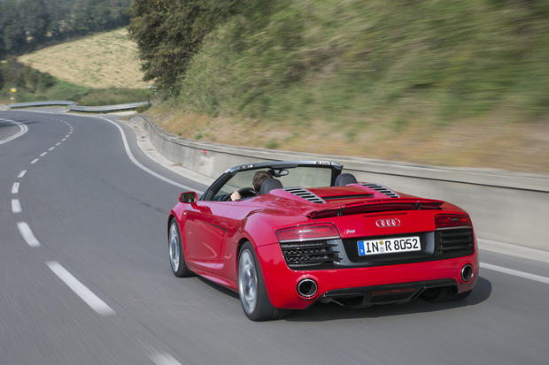 The 2014 R8 Spyder also benefits from a new, seven-speed, dual-clutch transmission. Both the R8 and R8 V-10 will be available in coupe or convertible form.