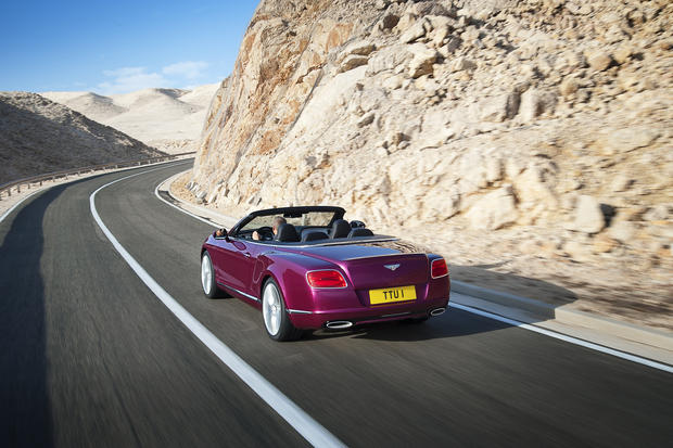 Bentley will unveil the Continental GT Speed Convertible at the 2013 Detroit Auto Show in January. The car has a 202 mph top speed and 616 horsepower from a 6-liter, turbocharged W-12 engine.
