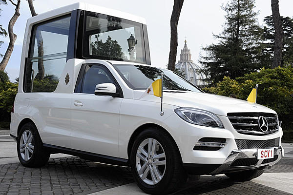 The all-new Popemobile is based on Mercedes-Benz's M-Class SUV.