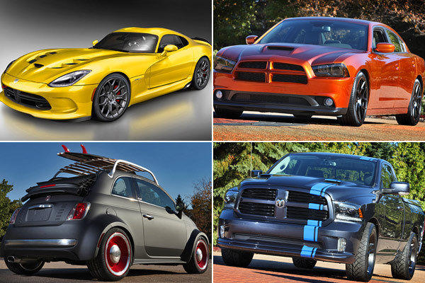 Chrysler Group previewed some of the 24 concept vehicles it will bring to the 2012 SEMA Show. Clockwise from top left is the SRT Viper, Dodge Charger Juice, Urban Ram and Fiat 500 Beach Cruiser.