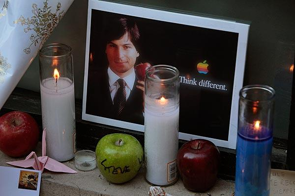 Tributes to Steve Jobs were left outside the Apple store in New York City's SoHo neighborhood.