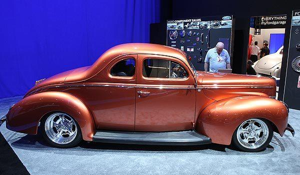 "The 1940 ""Catch Me If You Can!"" Ford coupe draws attention at the SEMA show in Las Vegas."