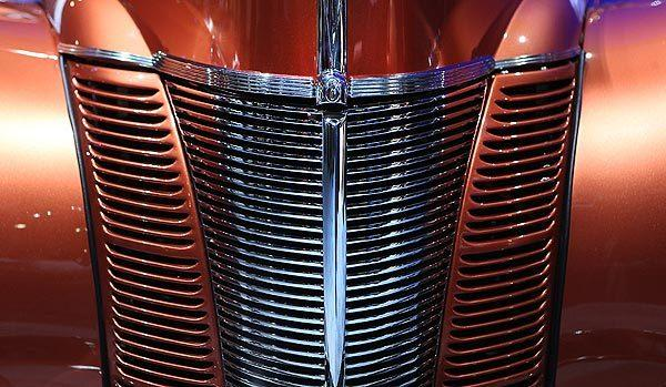 "A front grille detail on the 1940 ""Catch Me If You Can!"" Ford coupe."