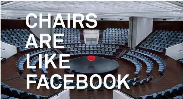 In October, Facebook announced it had reached 1 billion monthly users. To celebrate, the company released its first ad, comparing Facebook to ... chairs.