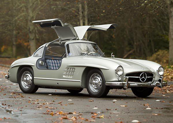 "This 1955 Mercedes-Benz 300 SL Alloy Gullwing sold at a Gooding & Co. auction in Scottsdale, Ariz., for just over $4.6 million in January. It is a metallic silver gray coupe with a six-cylinder inline engine that produces 240 horsepower, about the same as a modern day BMW 328. Road and Track at the time called this coveted Gullwing ""the ultimate in an all-around sports car."" It spent most of its life in Southern California and was restored in 2011. Interestingly, it has blue plaid seats."