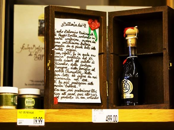 A $499 bottle of Aceto Balsamico Gold Label balsamic vinegar. Corti Bros.  has introduced many fine foods and wines to the region, beginning with Darrell Corti's first buying trip to Europe in 1967.