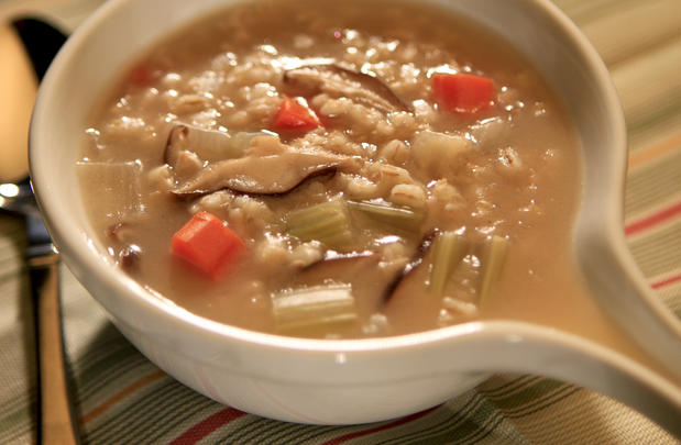 "<a href=""http://www.latimes.com/features/food/la-fo-sos-mushroombarleysoup-20110317,0,3278158.story"" target=""_blank"">The mushroom barley soup at Junior's Deli in West L.A. Click here for the recipe.</a>"
