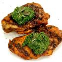 Roasted chicken thighs with spinach, basil, pistachio and avocado oil pesto