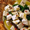 Herb-marinated feta cheese with za'tar-toasted pita triangles