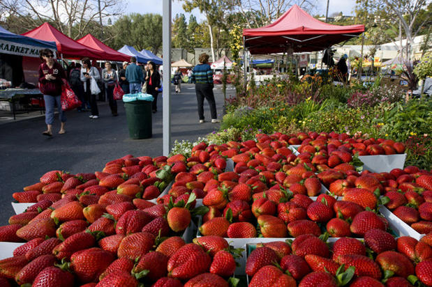 Albion strawberries grown by Gaytan Family Farms in Mira Loma, at the Palos Verdes farmers market.
