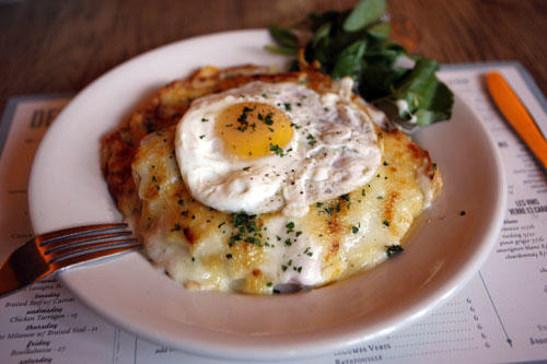 Traditional French offerings include a <i>croque madame</i>. Or, if you prefer, <i>monsieur</i>.