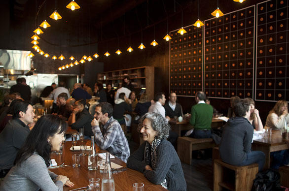 In the East Bay, Plum, with blackened steel walls, has a menu that changes daily.