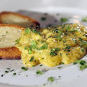 Creamy scrambled eggs with <i>fines herbes</i>