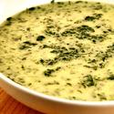 Spinach soup with nutmeg and  crème fraîche