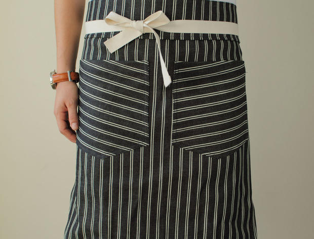 Hedley & Bennett apron <br/> Local apron maker Hedley & Bennett's stylish custom aprons are made with fabrics such as selvedge Japanese denim and Italian chambray. Designer Ellen Bennett offers lots of colors and styles; we're leaning toward an orange linen kitchen apron that reverses to a cotton stripe. <br/> $45 to $75, http://www.hedleyandbennett.com