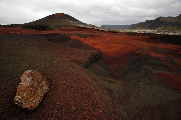 A red ash volcanic landscape in northwest Iceland.