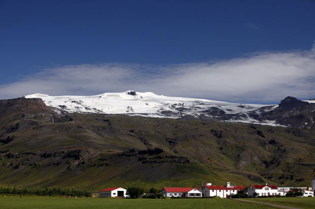 The notorious Eyjafjallajokull volcano that caused a major air travel setback in the summer of 2010 looked quite peaceful under its snowcap in July.