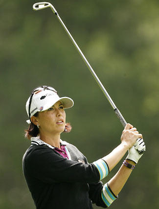 Stacy Prammanasudh hits her second shot on the 16th hole during the second round of the Wegmans LPGA at Locust Hill Country Club on June 20, 2008 in Rochester, NY.