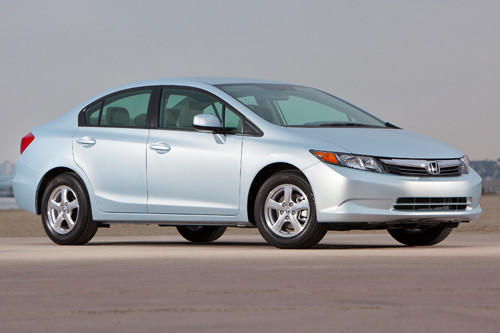 On the outside, it looks like any other Civic. And it feels and drives much the same, only somewhat smoother and quieter than the gas-only variety. But this is a Honda like no other, a pioneer in the field of natural-gas-powered vehicles - a technology that could potentially ease our dependence on imported petroleum. And it produces 30% less carbon emissions than gasoline, earning the Civic Natural Gas a Partial Zero-Emission Vehicle (PZEV-3) rating. Although it uses no petrol at all, the EPA rates it the equivalent of 38 mpg highway. 
