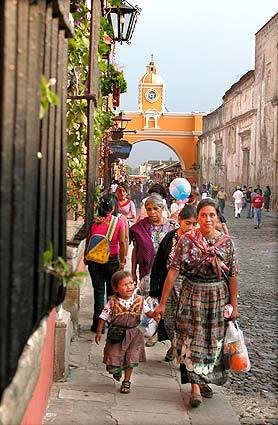 In Antigua stands the gold-and-white Arch of St. Catarina