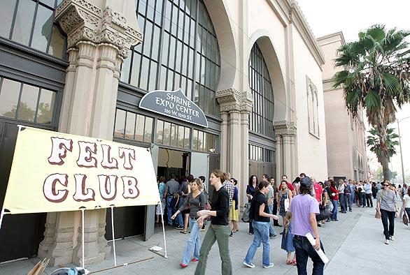 "People queued up for the <a href=""http://www.feltclub.com"">Felt Club</a> craft show and sale Nov. 16 at L.A.'s Shrine Auditorium Expo Center. The economy may be tanking, but for Southern California's community of crafters, the future is looking surprisingly plush. The Felt Club show drew about 4,500 shoppers, who perused 144 booths jammed with homemade housewares, cute crocheted critters and stuffed felt cupcakes. The event's success is just the latest proof that a long-simmering national movement continues to grow, and old-fashioned crafts are being revived in fresh ways among the under-40 set."