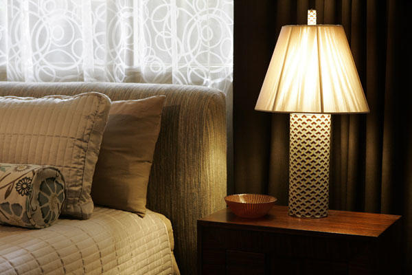 A different vibe in the guest bedroom: cozy, peaceful, welcoming.