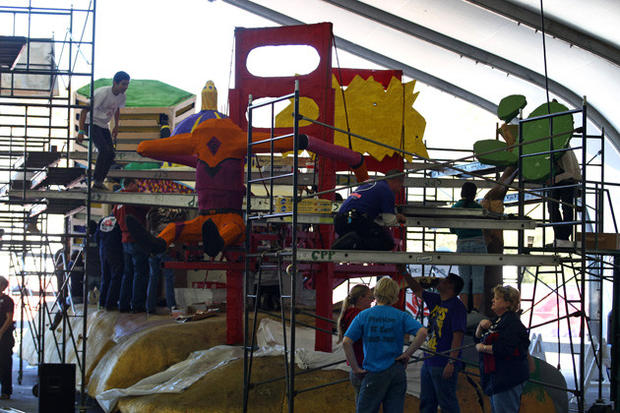 The Cal Poly float is readied for the Rose Parade.