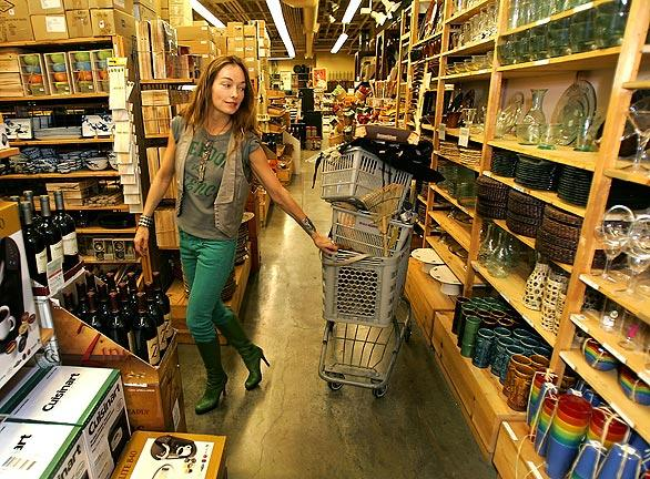 Renowned interior designer Kelly Wearstler goes discount shopping at Cost Plus World Market at the Los Angeles Farmers Market.