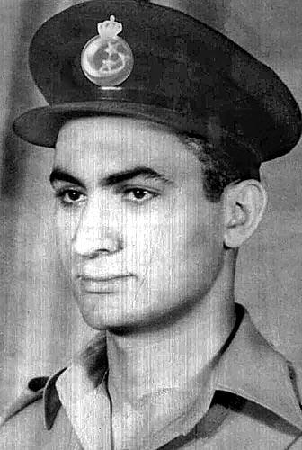 An image of Hosni Mubarak shows him as a young Royal Egyptian Air Force Lieutenant before the revolution that deposed King Farouk in 1952. Mubarak rose through the Air Force ranks.