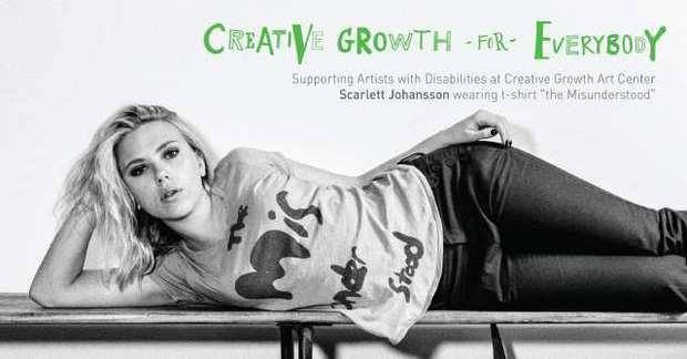 Scarlett Johansson wears a Creative Growth for Everybody T-shirt bearing artwork created by Ray Vickers. Proceeds go to support the artists,  adults with development, mental, and physical disabilities, and the Oakland, Calif., center.