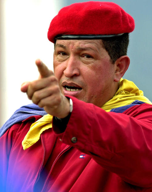 Chavez greets supporters at a rally in Caracas on Oct. 13, 2002.