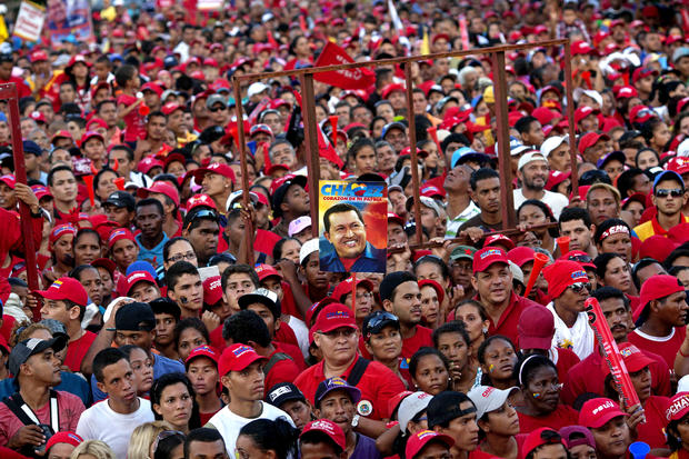 Chavez supporters attend a presidential campaign rally in Valencia, Venezuela, on Oct. 3, 2012. Chavez ran against Henrique Capriles.