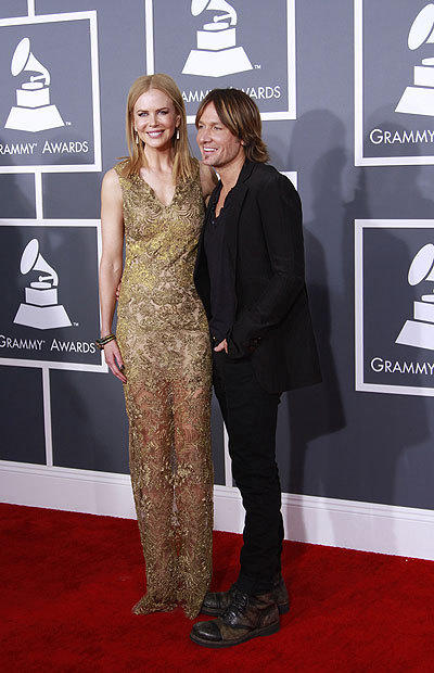 Nicole Kidman and Keith Urban arrives for the 2013 Grammys.