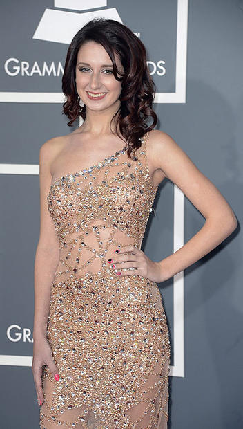 Singer Brooklyn Haley arrives for the 2013 Grammys.