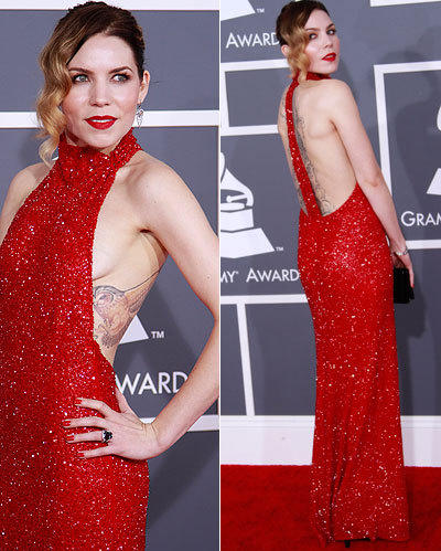 Artist Skylar Grey arrives for the Grammy Awards at Staples.