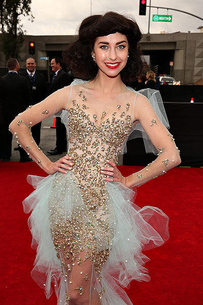 Australian singer Kimbra arrives at the 2013 Grammys wearing Australian designer Jaime Lee Major.