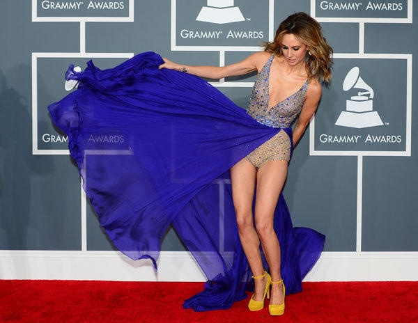Keltie Colleen arrives for the 2013 Grammys.