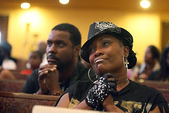 Monique Cooper joined other members of the First AME Church to watch the memorial and say goodbye to Michael Jackson.