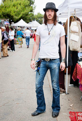 "Mark, from Venice, sporting Miss Sixty jeans, antique bracelets and a ""hipster hat.""  He wished not to use his last name, but says he wears the same style of outfit regardless of that day's activities, including when he pilots a plane around California<br> <br> <B>MORE FASHION SCENES:</B><br> <br> <A HREF=""http://www.latimes.com/features/image/la-ig-street-fashion-belmont-shore-pictures,0,7041569.photogallery"">Long Beach's Belmont Shore </A><br> <br> <a href=""http://www.latimes.com/features/image/la-ig-street-fashion-downtown-art-walk-pictures,0,5566397.photogallery"">Downtown Los Angeles Art Walk</a><br> <br> <a href=""http://www.latimes.com/features/image/la-ig-street-fashion-sunset-junction-pictures,0,4284480.photogallery"">Sunset Junction</a><br> <br> <A HREF=""http://www.latimes.com/features/image/la-ig-street-fashion-century-city-pictures,0,1368699.photogallery"">Westfield Century City shopping mall</a><br> <br> <A HREF=""http://www.latimes.com/features/image/la-ig-street-fashion-santa-monica-3rd-st-pictures,0,92285.photogallery"">Santa Monica's Third Street Promenade </a><br> <br> <a href=""http://www.latimes.com/features/image/la-ig-street-fashion-santee-alley-pictures,0,6901285.photogallery"">Santee Alley</a><br> <br> <a href=""http://www.latimes.com/features/image/la-ig-street-fashion-old-town-pasadena-pictures,0,6993214.photogallery"">Old Pasadena</a><br> <br> <a href=""http://www.latimes.com/features/image/la-ig-street-fashion-third-street-pictures,0,7608405.photogallery"">Los Angeles' Third Street neighborhood</a><br> <br> <a href=""http://www.latimes.com/features/lifestyle/la-ig-street-fashion-venice-pictures,0,3211837.photogallery"">Abbot Kinney, Venice</a>"