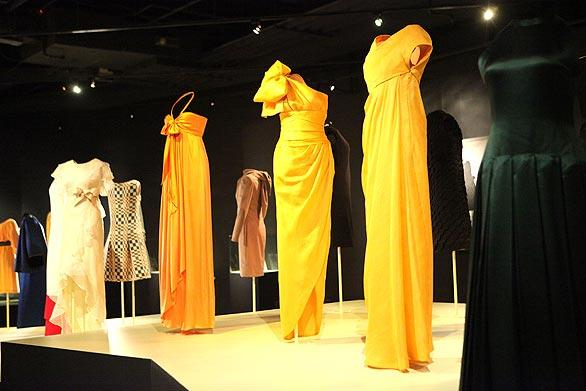 Some of the gowns on display. Among guests at the show were James Galanos and Nolan Miller, Barbara Davis, Iris Cantor, Veronique Peck, Kathi Koll, Wendy Stark, Gabrielle and Christophe Choo, Laurie and Paul MacCaskill, Susan Niven, Allison Speer, Marcella Ruble and exhibition designer Horacio Avila.