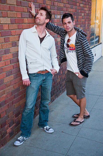 """I try to always keep one unique piece of clothing on me,"" says Adam Sweet, left, 25, of Long Beach. He's wearing an American Apparel V-neck and a Diesel track jacket.<br> <br> ""I recently moved to San Diego,"" says Bobby Zeck, 30. ""So my style right now is surfer commercial cute, and I always have a hoodie on.""<br> <br> <B>MORE FASHION SCENES:</B><br> <br> <a href=""http://www.latimes.com/features/image/la-ig-street-fashion-downtown-art-walk-pictures,0,5566397.photogallery"">Downtown Los Angeles Art Walk</a><br> <br> <a href=""http://www.latimes.com/features/image/la-ig-street-fashion-sunset-junction-pictures,0,4284480.photogallery"">Sunset Junction</a><br> <br> <A HREF=""http://www.latimes.com/features/image/la-ig-street-fashion-century-city-pictures,0,1368699.photogallery"">Westfield Century City shopping mall</a><br> <br> <A HREF=""http://www.latimes.com/features/image/la-ig-street-fashion-santa-monica-3rd-st-pictures,0,92285.photogallery"">Santa Monica's Third Street Promenade </a><br> <br> <a href=""http://www.latimes.com/features/image/la-ig-street-fashion-santee-alley-pictures,0,6901285.photogallery"">Santee Alley</a><br> <br> <a href=""http://www.latimes.com/features/image/la-ig-street-fashion-old-town-pasadena-pictures,0,6993214.photogallery"">Old Pasadena</a><br> <br> <a href=""http://www.latimes.com/features/image/la-ig-street-fashion-third-street-pictures,0,7608405.photogallery""> Los Angeles' Third Street neighborhood</a><br> <br> <a href=""http://www.latimes.com/features/lifestyle/la-ig-street-fashion-venice-pictures,0,3211837.photogallery"">Abbot Kinney, Venice</a><br> <br> <A HREF=""http://www.latimes.com/features/lifestyle/la-ig-street-fashion-mtp-pictures,0,4552449.photogallery"">Melrose Trading Post</A>"