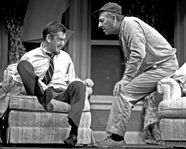 "Tony Randall and Jack Klugman in a stage production of ""The Odd Couple"" at L.A.'s Shubert Theater in 1975."