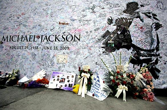 A fan tribute board to Michael Jackson outside Staples Center.