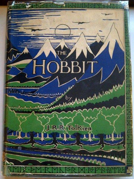 "The first edition, first impression of J.R.R. Tolkien's ""The Hobbit, or There and Back Again"" with its dust jacket intact, for sale for $58,000."