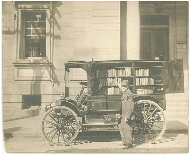 "In 1912, Washington County, Md., purchased this automobile to deliver books to rural readers. According to the library's annual report, it was the modern replacement for an ""old wagon."""
