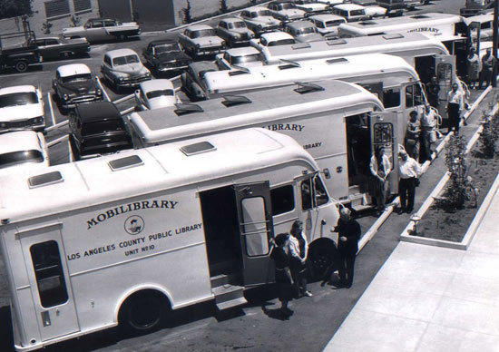 Bookmobiles line up in Hawthorne, circa 1955-65.