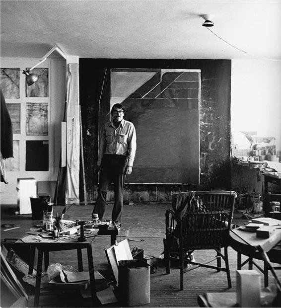 "Richard Diebenkorn in front of ""Ocean Park #59"" at his studio at Ashland and Main in Santa Monica in 1972."