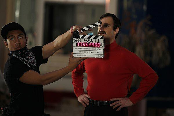 "Will Forte prepares to film a scene for ""Tim and Eric's Billion Dollar Movie."" No word on whether the 'stache got caught in the clapper board."